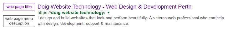 title and meta description (for SEO)