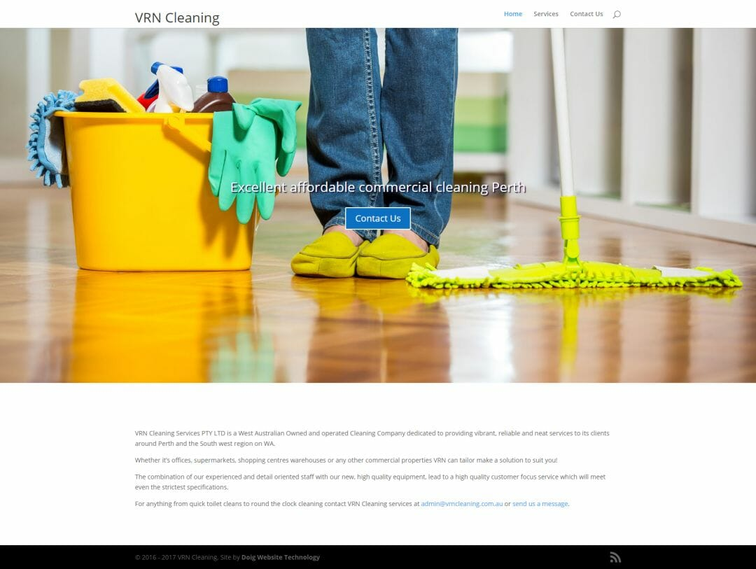 VRN Cleaning website design Perth
